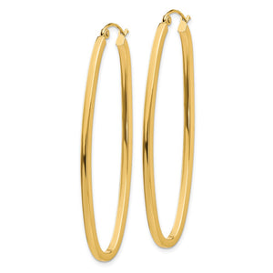 Alternate view of the 2mm, 14k Yellow Gold Square Tube Oval Hoop Earrings, 50mm (1 7/8 Inch) by The Black Bow Jewelry Co.