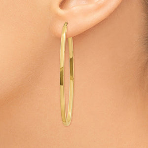 2mm, 14k Yellow Gold Square Tube Oval Hoop Earrings, 50mm (1 7/8 Inch)