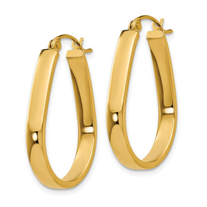 Alternate view of the 3.5mm, 14k Yellow Gold U-Shaped Hoop Earrings, 22mm (7/8 Inch) by The Black Bow Jewelry Co.