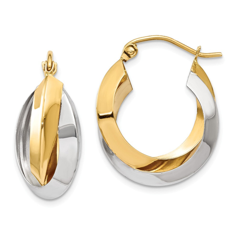 Knife-edged Double Hoops in 14k Two-tone Gold, 20mm (3/4 Inch), Item E9745 by The Black Bow Jewelry Co.
