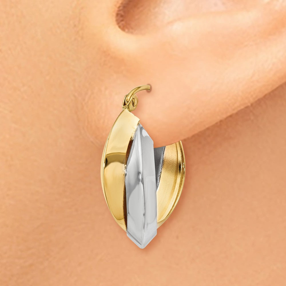 Alternate view of the Knife-edged Double Hoops in 14k Two-tone Gold, 20mm (3/4 Inch) by The Black Bow Jewelry Co.