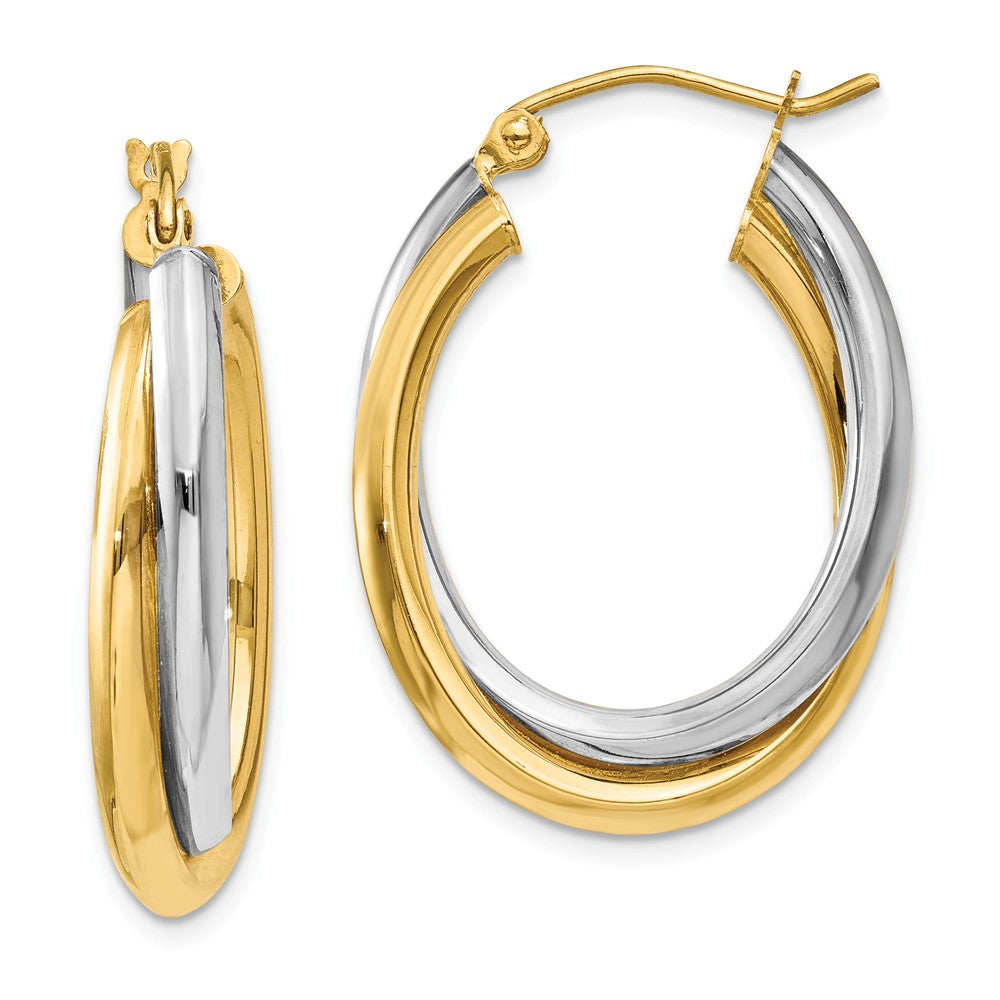 Crossover Double Oval Hoops in 14k Two-tone Gold, 25mm (1 Inch), Item E9746 by The Black Bow Jewelry Co.