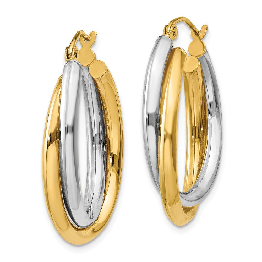 Alternate view of the Crossover Double Oval Hoops in 14k Two-tone Gold, 25mm (1 Inch) by The Black Bow Jewelry Co.