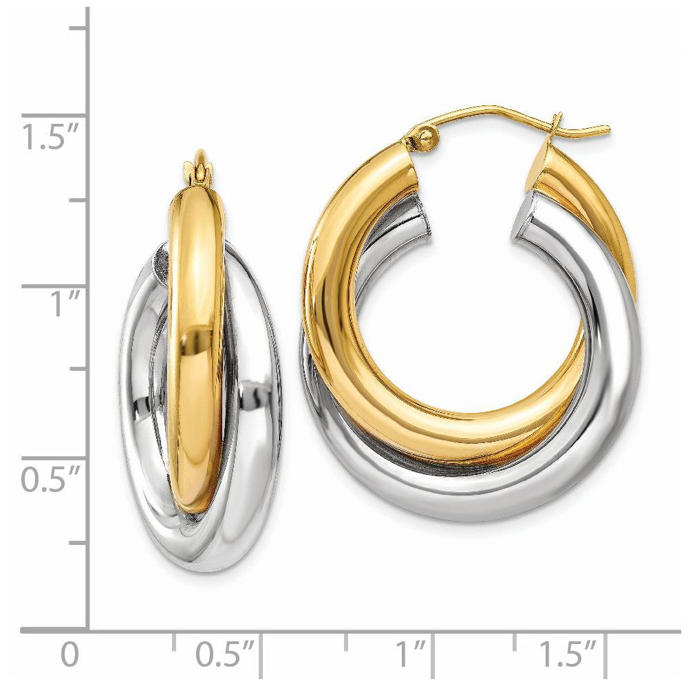 Alternate view of the Crossover Double Tube Hoops in 14k Two-tone Gold, 20mm (3/4 Inch) by The Black Bow Jewelry Co.