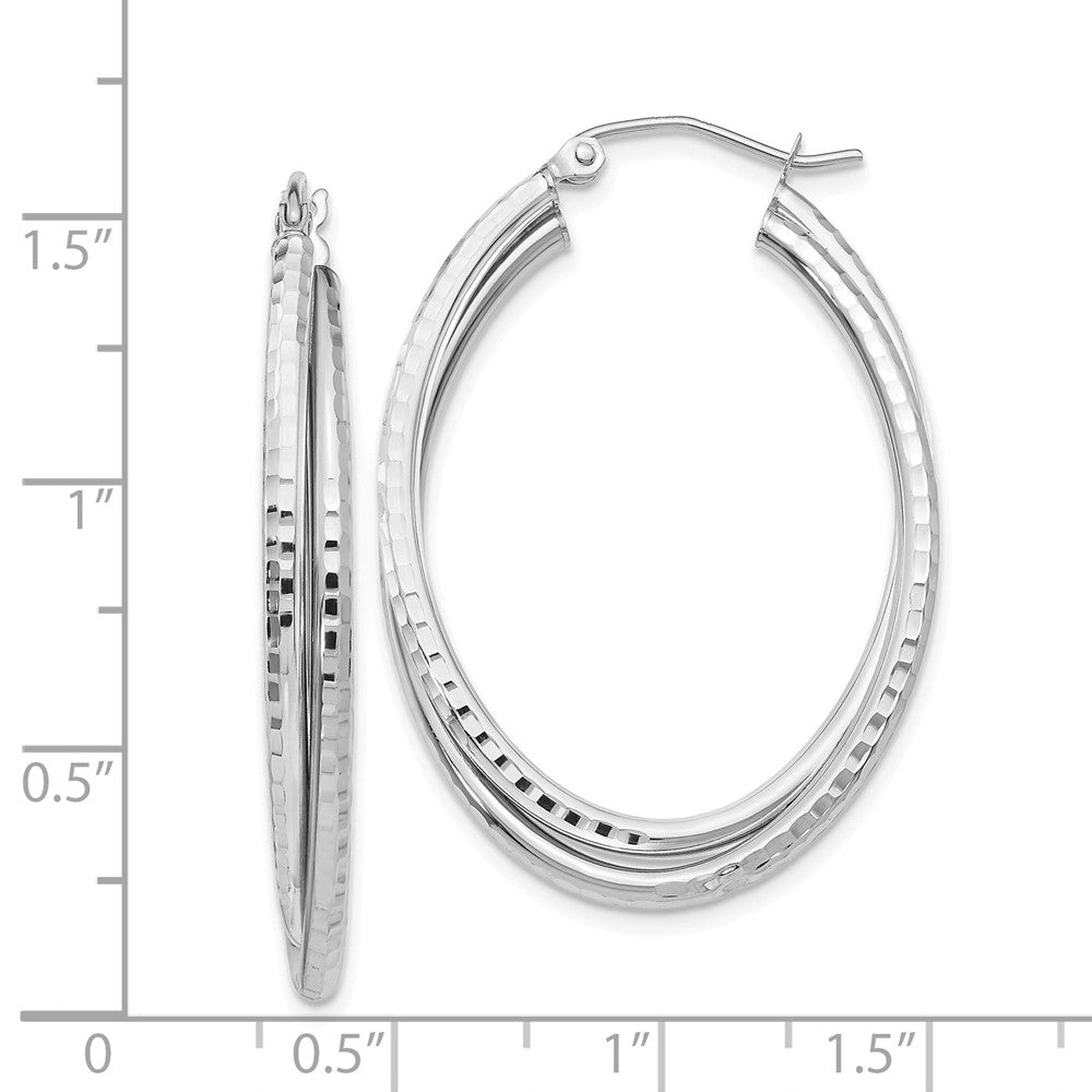 Alternate view of the Diamond Cut Double Oval Hoops in 14k White Gold, 37mm (1 3/8 Inch) by The Black Bow Jewelry Co.