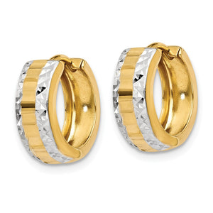 Alternate view of the 14k Yellow Gold and Rhodium Hinged Round Hoop Earrings, 12mm (7/16 In) by The Black Bow Jewelry Co.