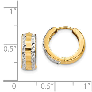 14k Yellow Gold and Rhodium Hinged Round Hoop Earrings, 12mm (7/16 In)