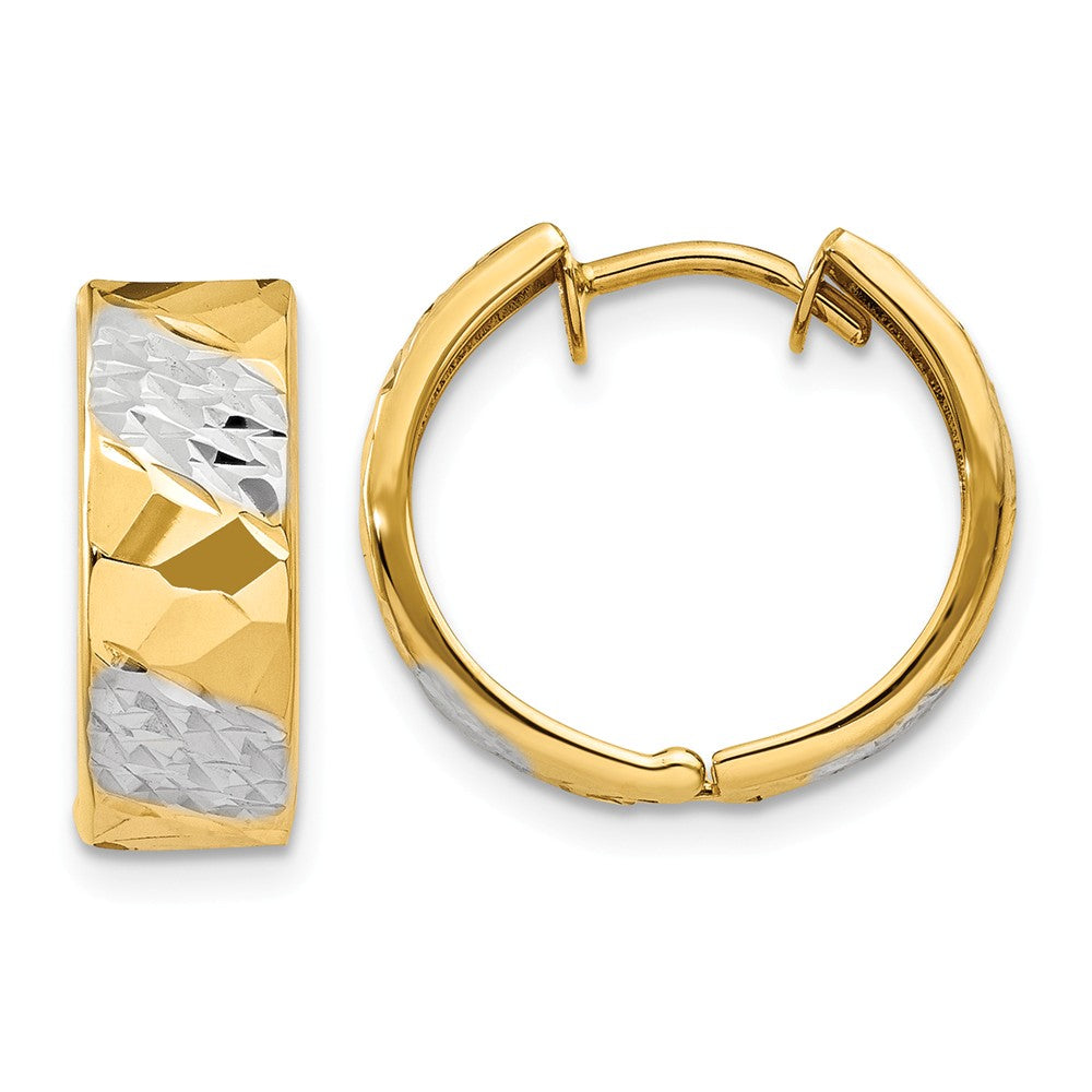 Diamond Cut Hinged Hoops in 14k Yellow Gold, 15mm (9/16 Inch), Item E9777 by The Black Bow Jewelry Co.