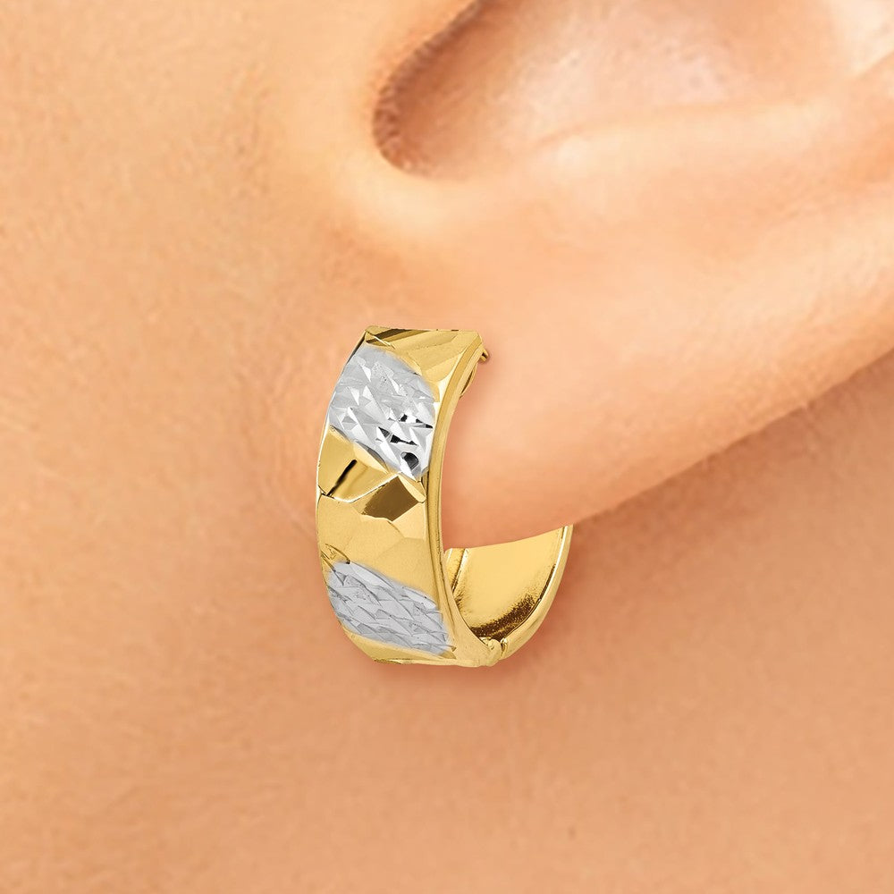 Alternate view of the Diamond Cut Hinged Hoops in 14k Yellow Gold, 15mm (9/16 Inch) by The Black Bow Jewelry Co.