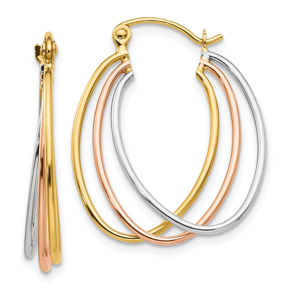 14k Tri-Color Gold Polished Triple Oval Hoop Earrings, 25mm (1 Inch), Item E9835 by The Black Bow Jewelry Co.