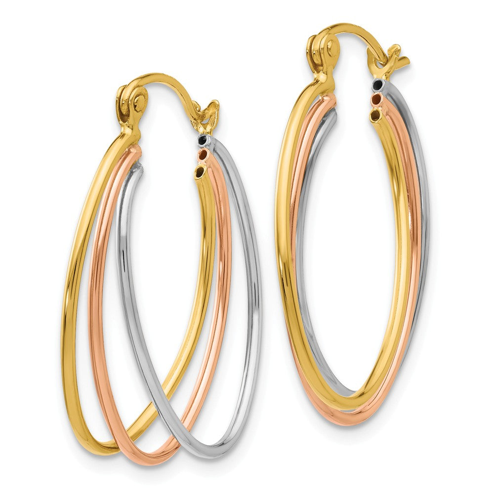 Alternate view of the 14k Tri-Color Gold Polished Triple Oval Hoop Earrings, 25mm (1 Inch) by The Black Bow Jewelry Co.