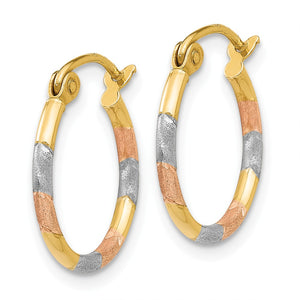 Alternate view of the 1.5mm, Tri-Color Round Hoops in 14k Yellow Gold and Rhodium, 15mm by The Black Bow Jewelry Co.