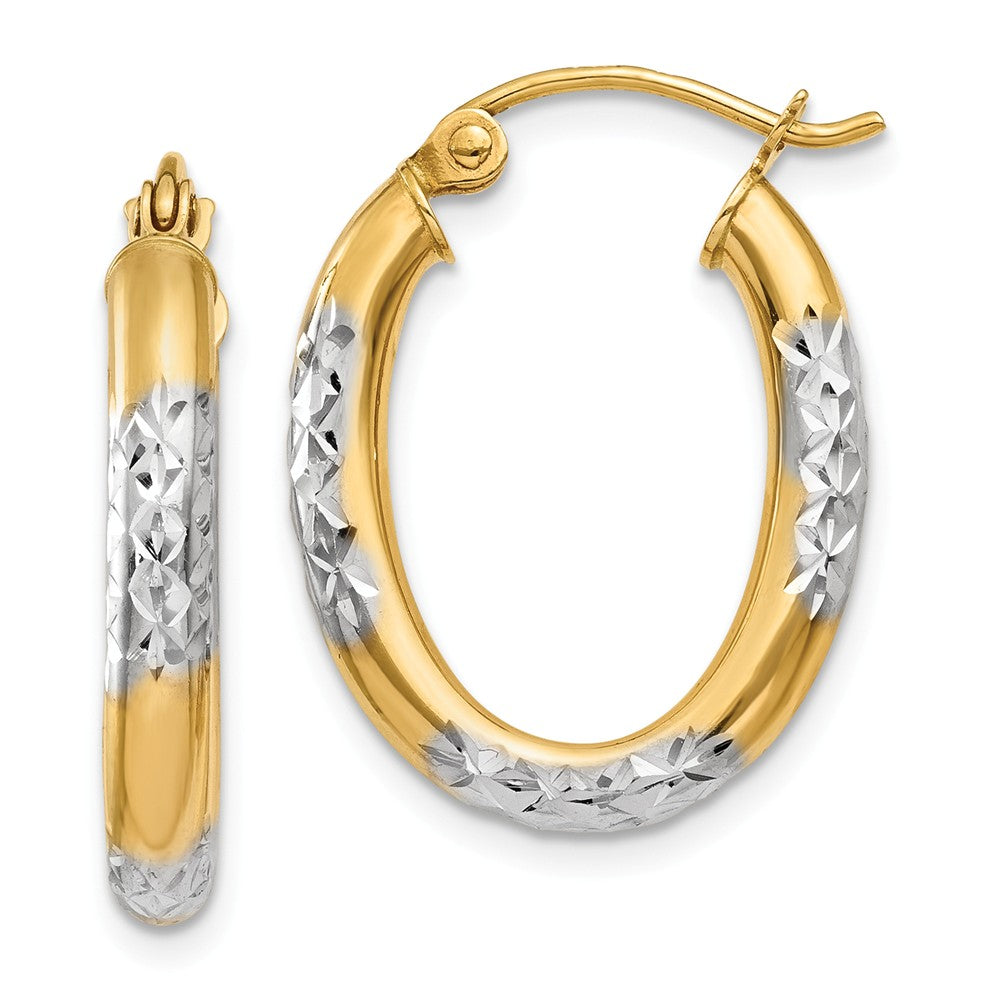 3mm, 14k Yellow Gold Diamond Cut Oval Hoops, 20mm (3/4 Inch), Item E9846 by The Black Bow Jewelry Co.