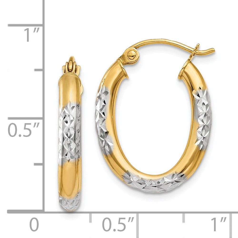 Alternate view of the 3mm, 14k Yellow Gold Diamond Cut Oval Hoops, 20mm (3/4 Inch) by The Black Bow Jewelry Co.