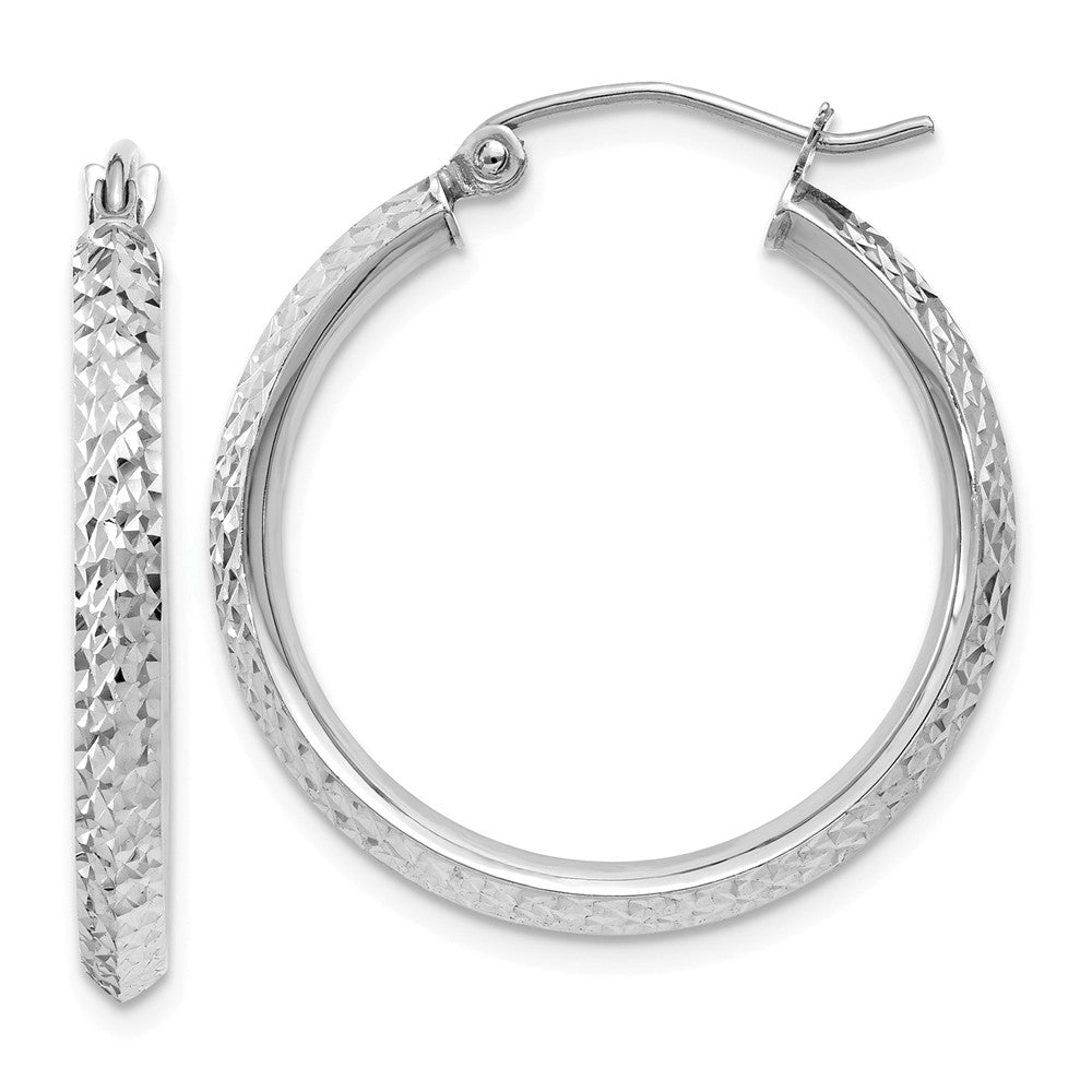2.5mm, 14k White Gold Knife Edge Diamond Cut Hoops, 25mm (1 Inch), Item E9866 by The Black Bow Jewelry Co.