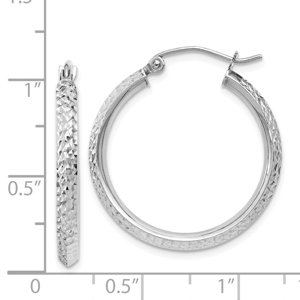 Alternate view of the 2.5mm, 14k White Gold Knife Edge Diamond Cut Hoops, 25mm (1 Inch) by The Black Bow Jewelry Co.