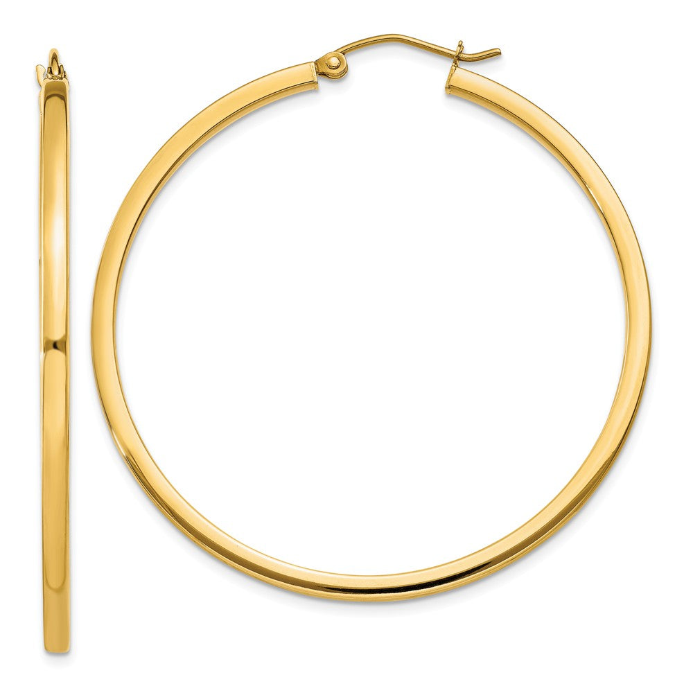2mm, 14k Yellow Gold Square Tube Round Hoop Earrings, 45mm (1 3/4 In), Item E9876 by The Black Bow Jewelry Co.