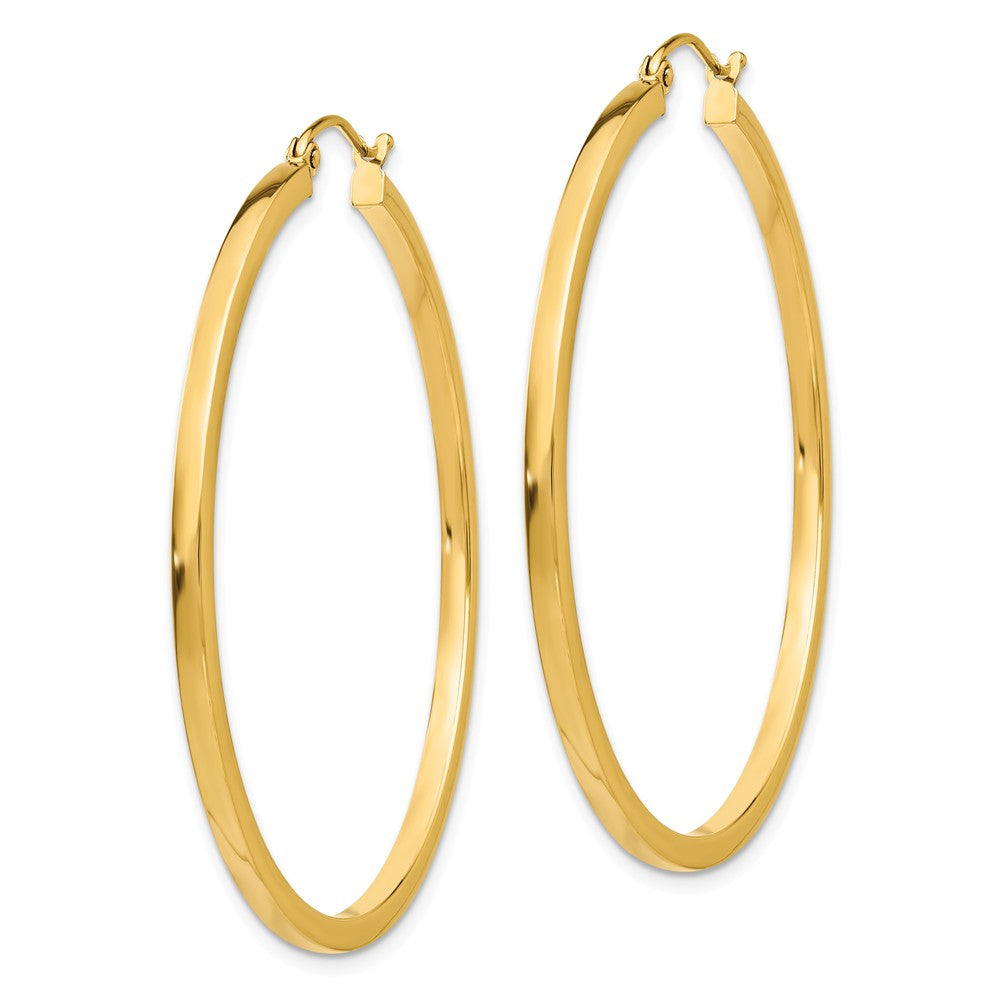 Alternate view of the 2mm, 14k Yellow Gold Square Tube Round Hoop Earrings, 45mm (1 3/4 In) by The Black Bow Jewelry Co.