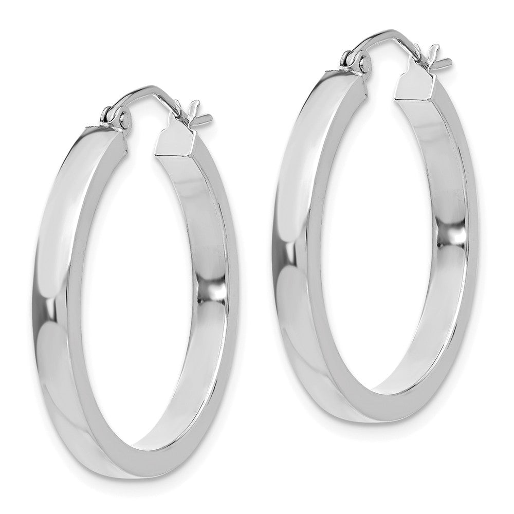Alternate view of the 3mm, 14k White Gold Polished Rectangle Tube Hoops, 25mm (1 Inch) by The Black Bow Jewelry Co.