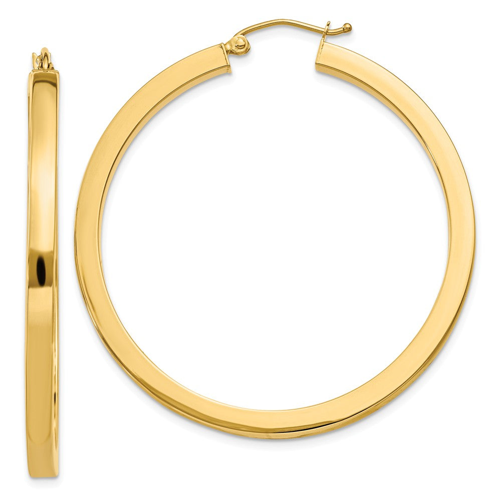 3mm, 14k Yellow Gold Square Tube Round Hoop Earrings, 45mm (1 3/4 In), Item E9898 by The Black Bow Jewelry Co.