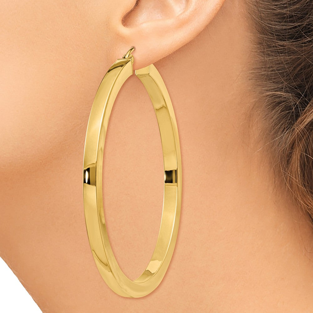 Alternate view of the 3mm, 14k Yellow Gold Square Tube Round Hoop Earrings, 45mm (1 3/4 In) by The Black Bow Jewelry Co.