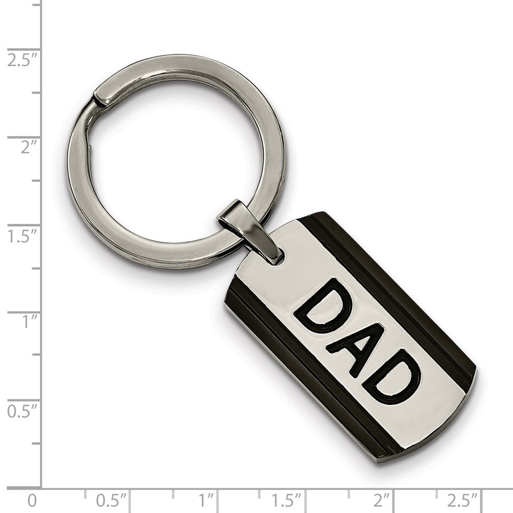 Alternate view of the Two-Tone DAD Dog Tag Key Chain in Stainless Steel by The Black Bow Jewelry Co.