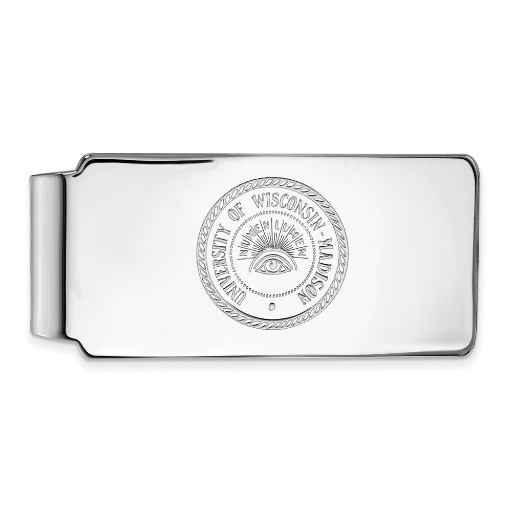 NCAA Sterling Silver U of Wisconsin Money Clip, Item M10328 by The Black Bow Jewelry Co.