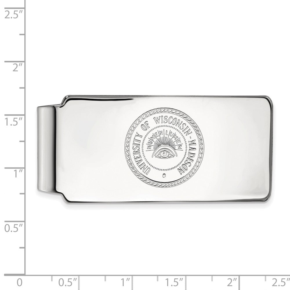 Alternate view of the NCAA Sterling Silver U of Wisconsin Money Clip by The Black Bow Jewelry Co.