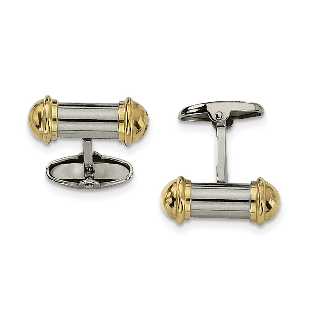 Men's Stainless Steel and Gold-Tone Plated Cylindrical Cuff Links, Item M8104 by The Black Bow Jewelry Co.