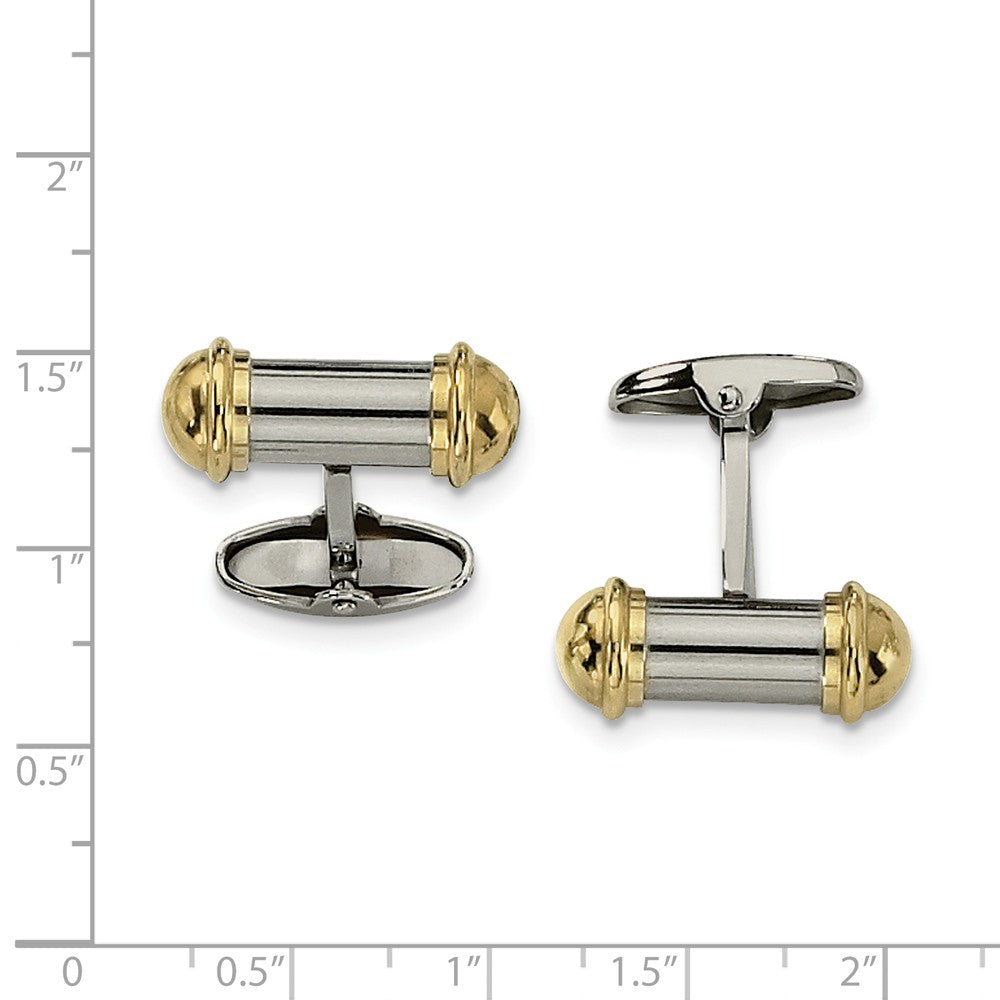 Alternate view of the Men's Stainless Steel and Gold-Tone Plated Cylindrical Cuff Links by The Black Bow Jewelry Co.