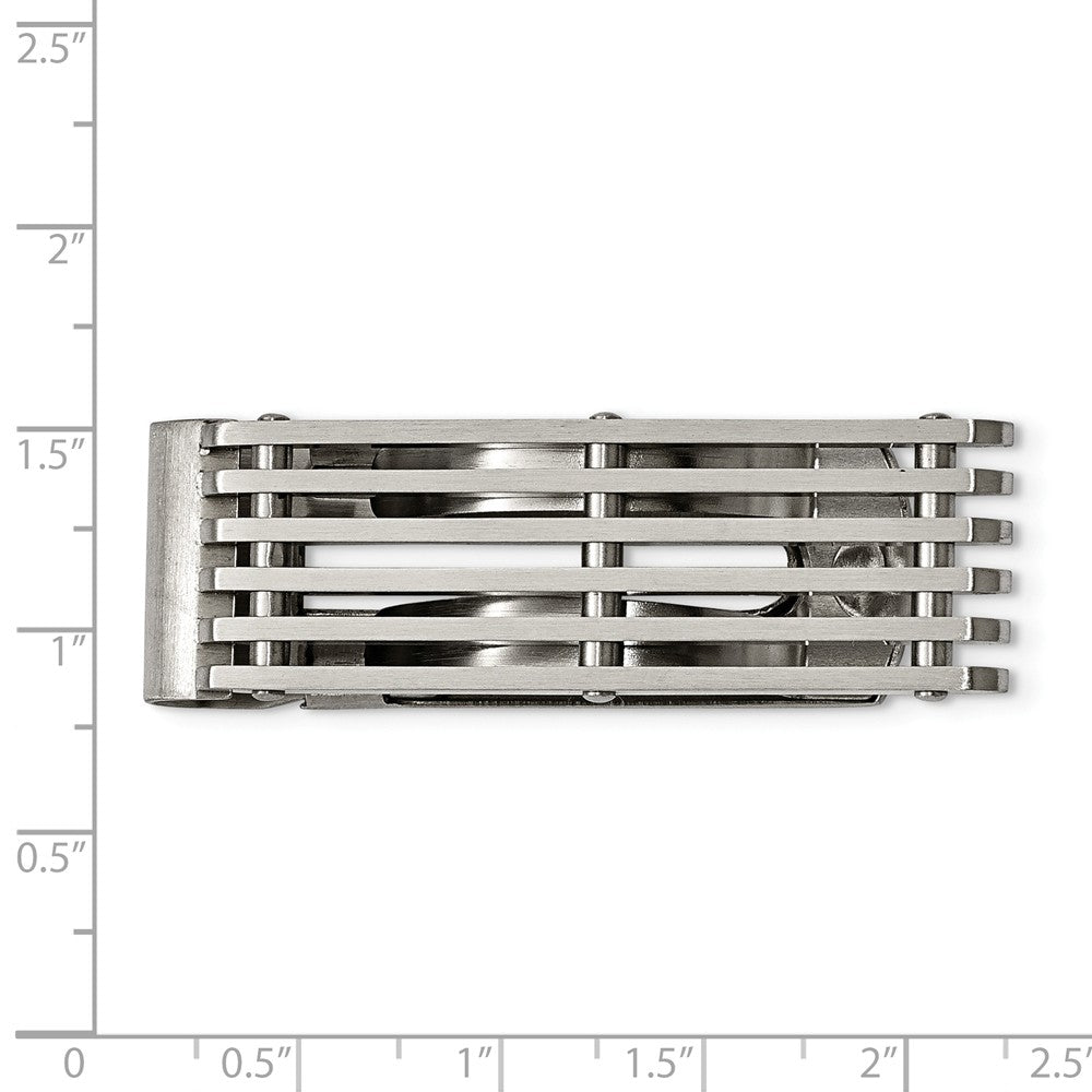 Alternate view of the Men's Stainless Steel Grid Design Money Clip by The Black Bow Jewelry Co.