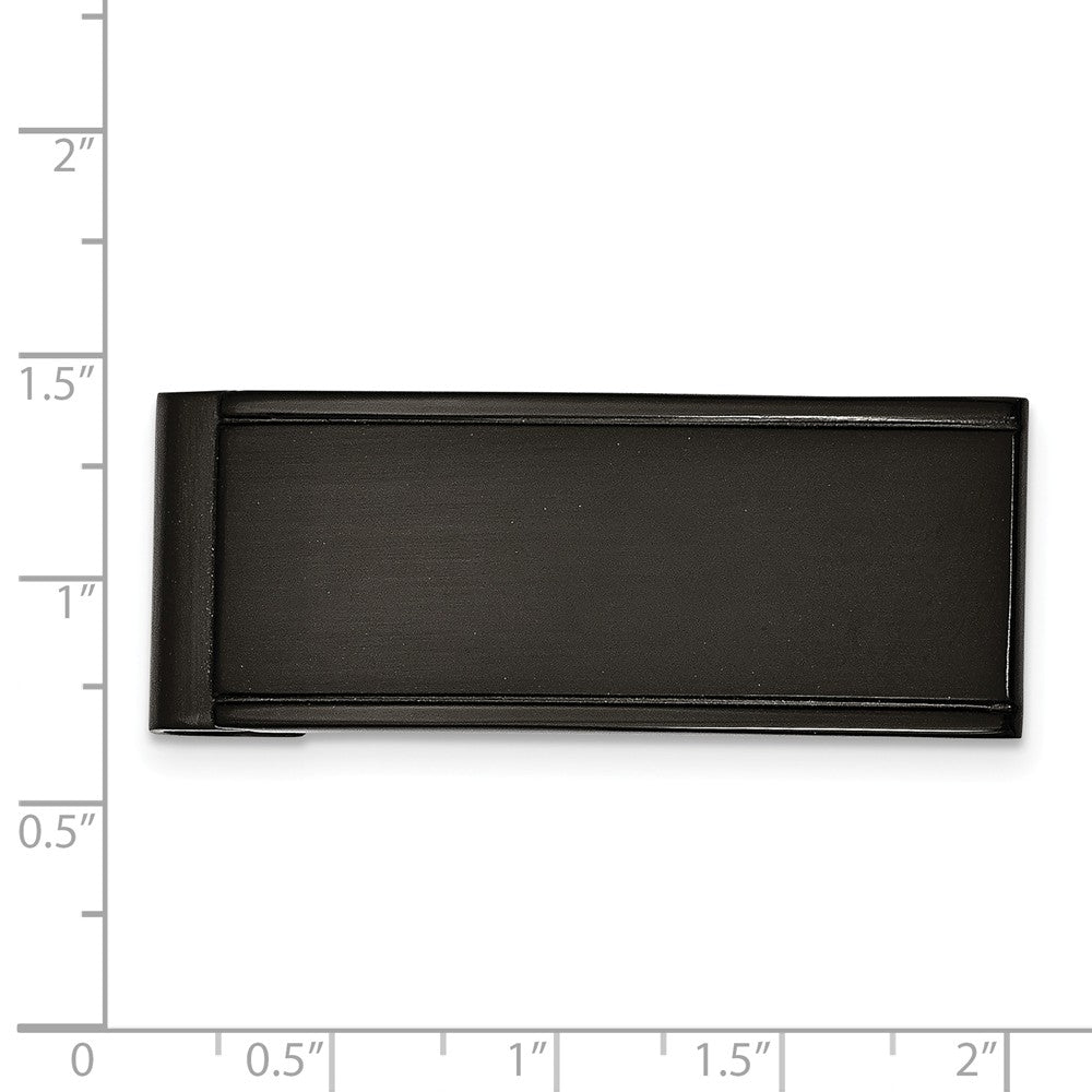 Alternate view of the Men's Black-plated Stainless Steel Grooved Edge Money Clip by The Black Bow Jewelry Co.