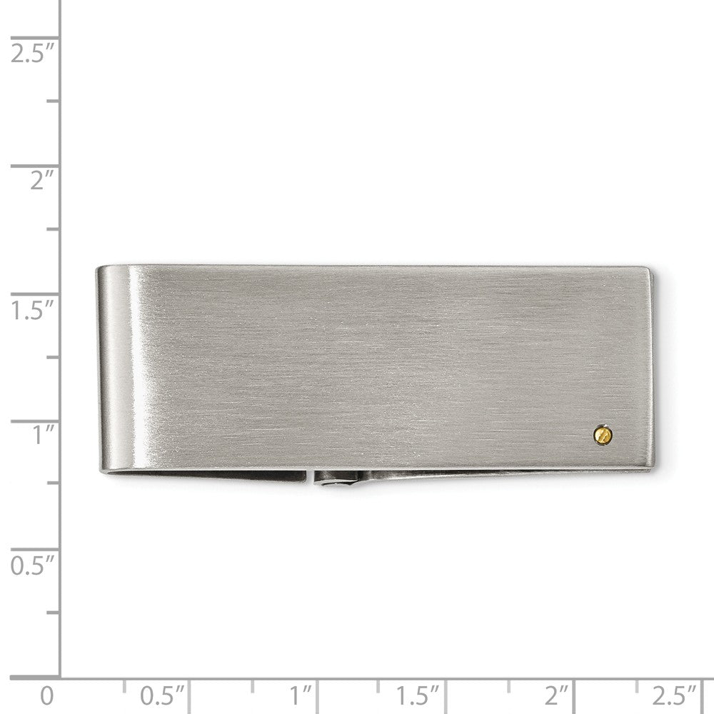 Alternate view of the Brushed Stainless Steel and 14k Gold Plated Accent Hinged Money Clip by The Black Bow Jewelry Co.