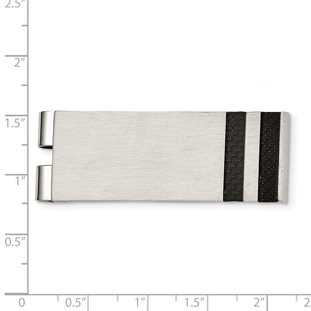 Alternate view of the Men's Brushed Stainless Steel and Black Carbon Fiber Money Clip by The Black Bow Jewelry Co.