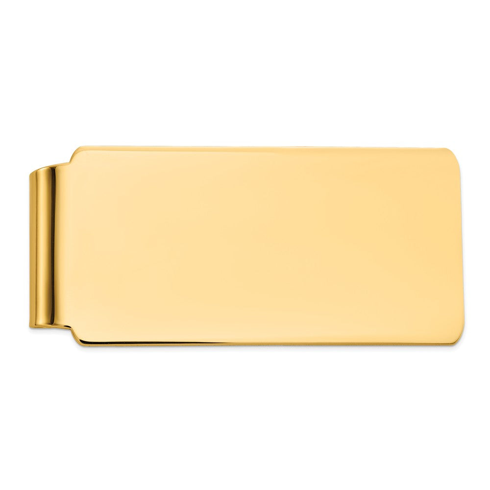 Men's 14k Yellow Gold Polished Wide Fold-Over Money Clip, Item M8159 by The Black Bow Jewelry Co.