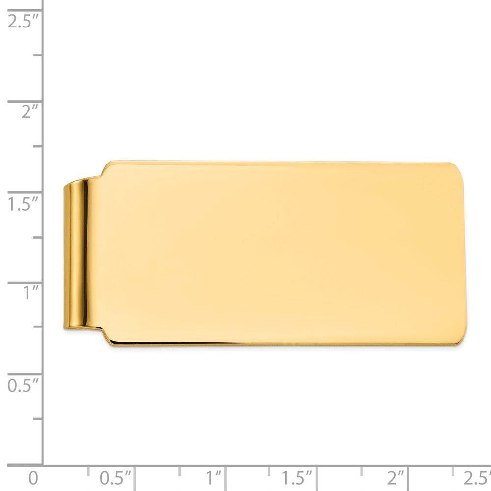 Alternate view of the Men's 14k Yellow Gold Polished Wide Fold-Over Money Clip by The Black Bow Jewelry Co.