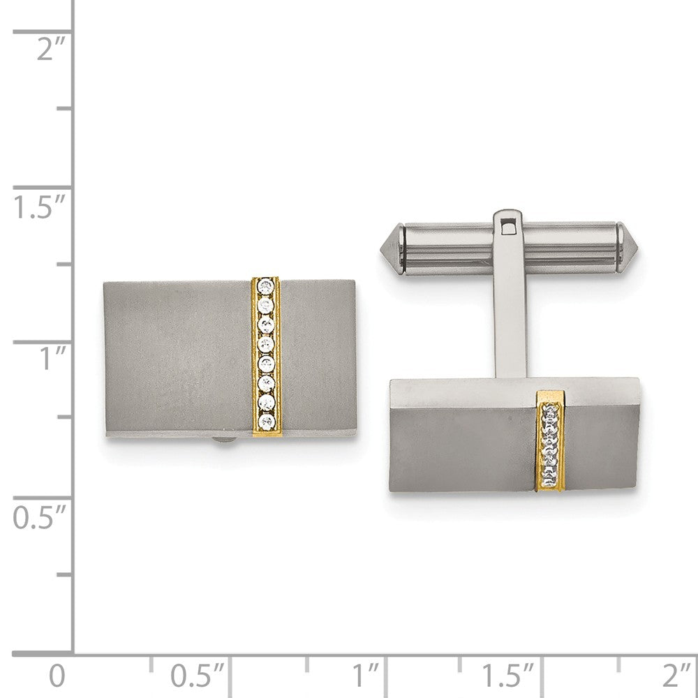 Alternate view of the Men's Titanium, Gold Tone Plated and CZ Rectangular Cuff Links by The Black Bow Jewelry Co.