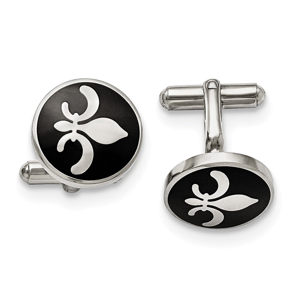 Mens Stainless Steel & Black Enamel 18mm Round Fleur de Lis Cuff Links, Item M8219 by The Black Bow Jewelry Co.