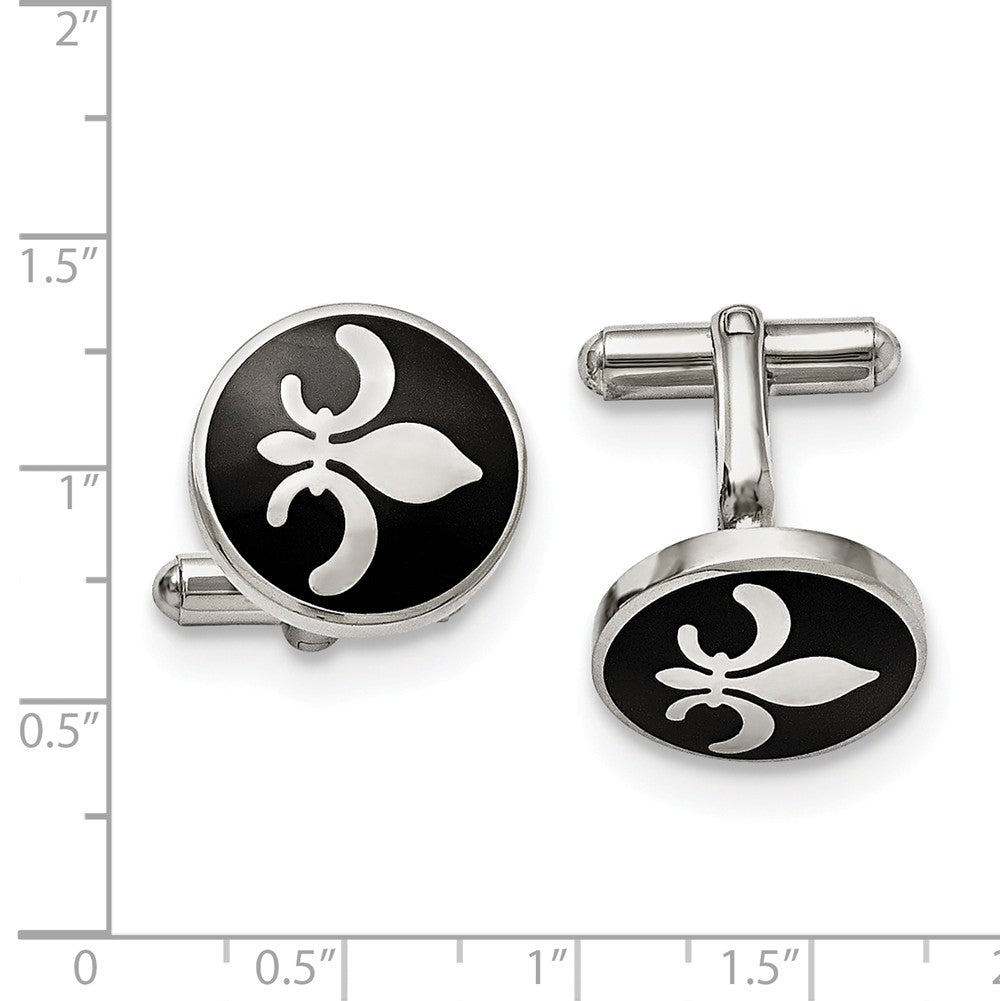 Alternate view of the Mens Stainless Steel & Black Enamel 18mm Round Fleur de Lis Cuff Links by The Black Bow Jewelry Co.