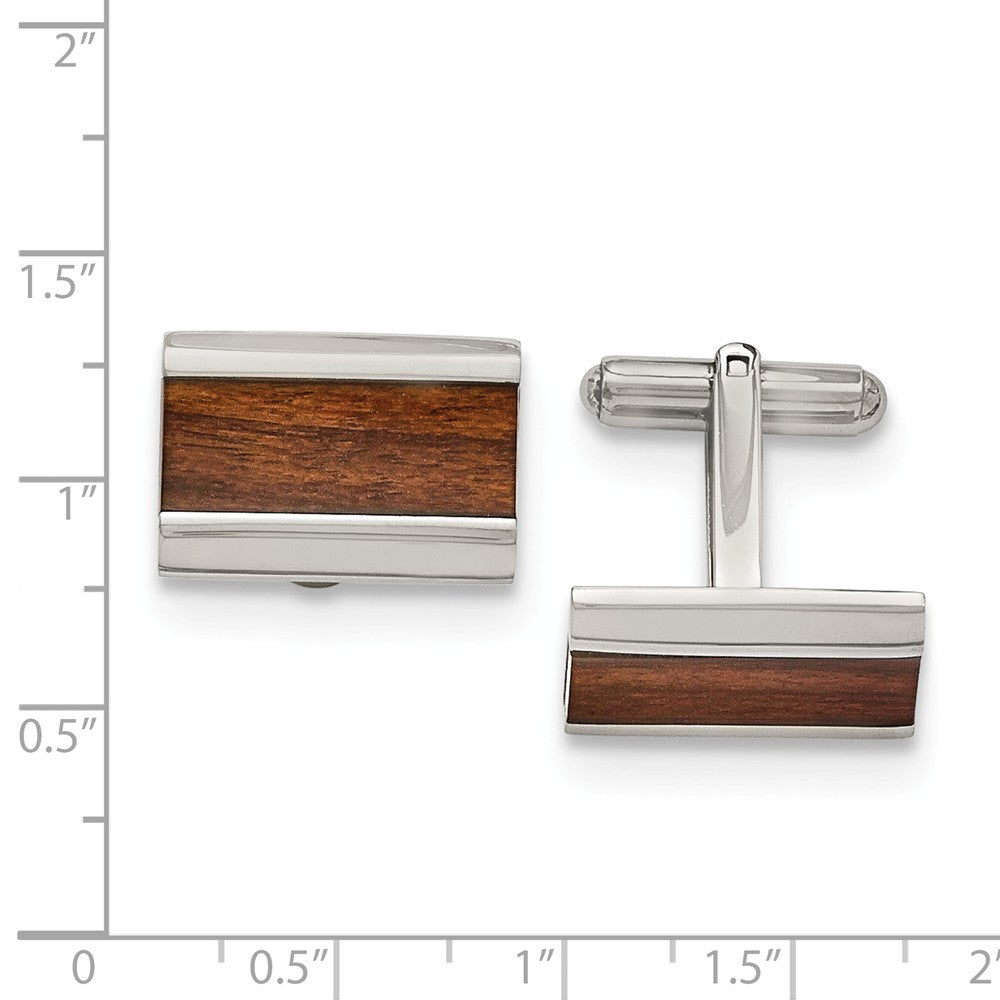 Alternate view of the Men's Stainless Steel and Wood Inlay Rectangular Cuff Links by The Black Bow Jewelry Co.