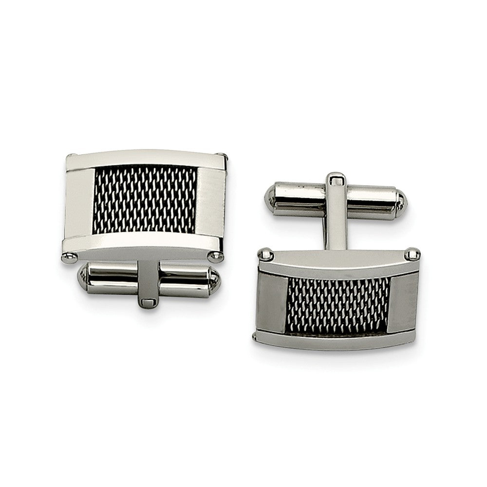 Men's Stainless Steel Polished and Brushed Mesh Rectangular Cuff Links, Item M8246 by The Black Bow Jewelry Co.