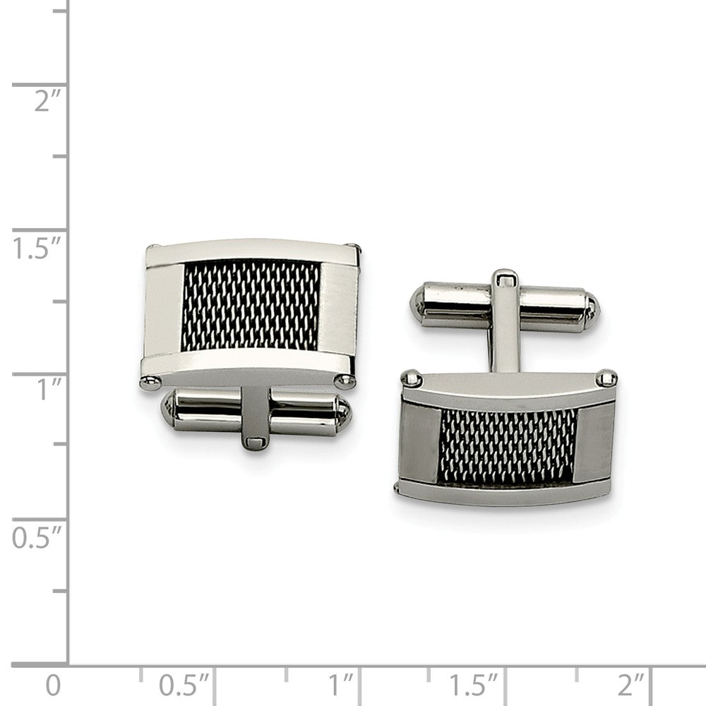 Alternate view of the Men's Stainless Steel Polished and Brushed Mesh Rectangular Cuff Links by The Black Bow Jewelry Co.