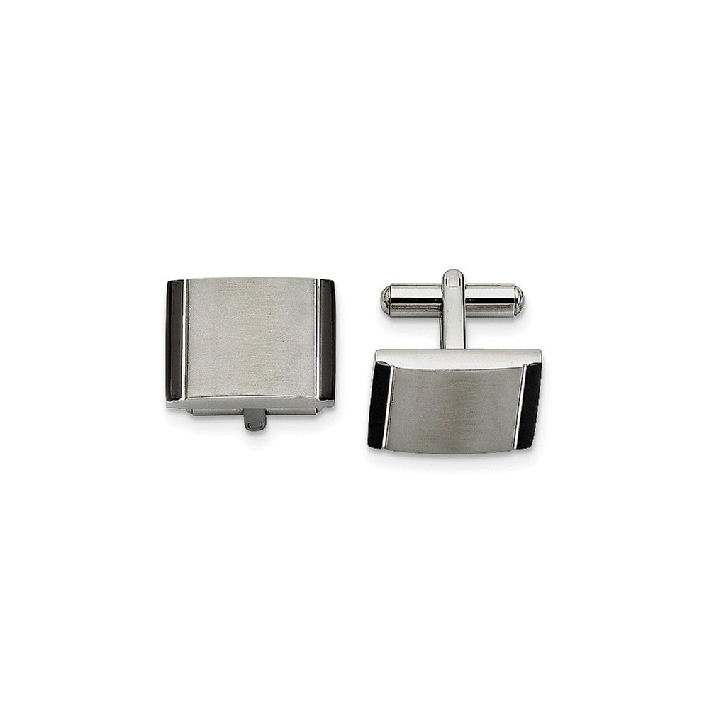 Men's Stainless Steel & Black Acrylic Brushed Rectangular Cuff Links, Item M8270 by The Black Bow Jewelry Co.