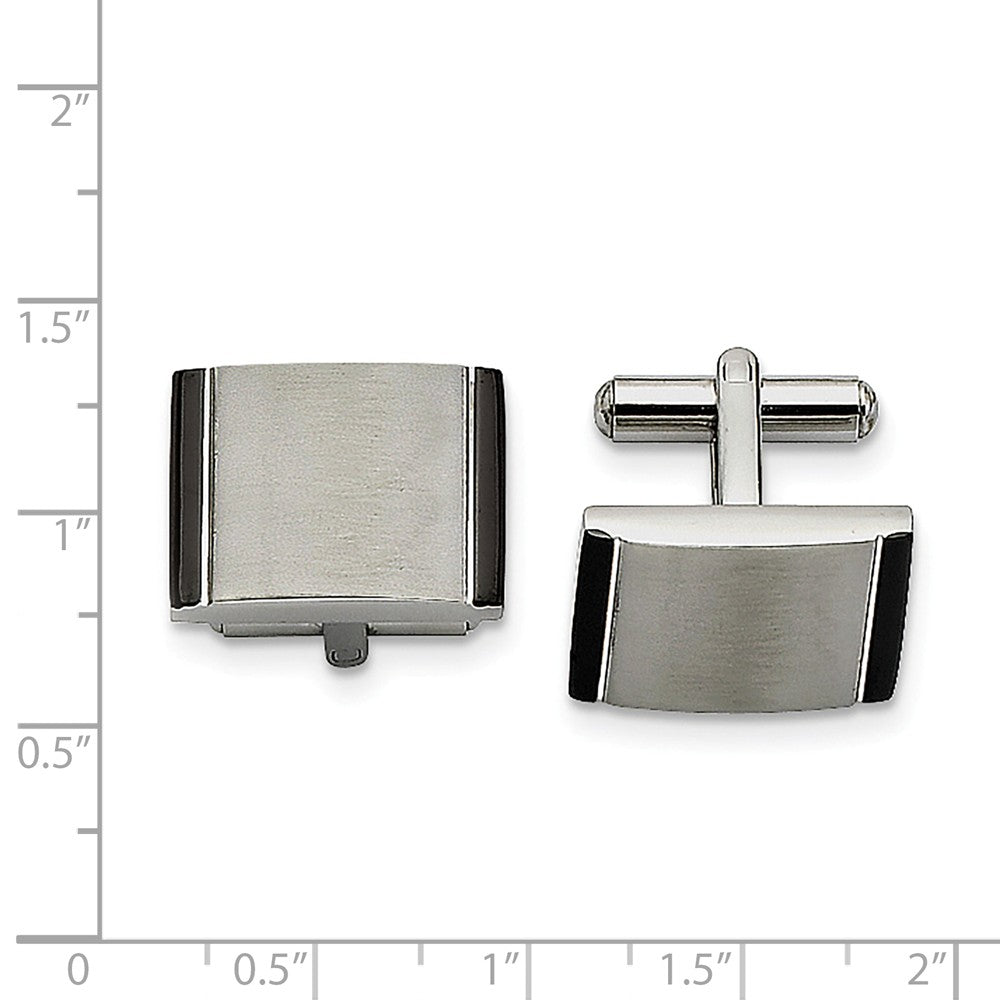 Alternate view of the Men's Stainless Steel & Black Acrylic Brushed Rectangular Cuff Links by The Black Bow Jewelry Co.