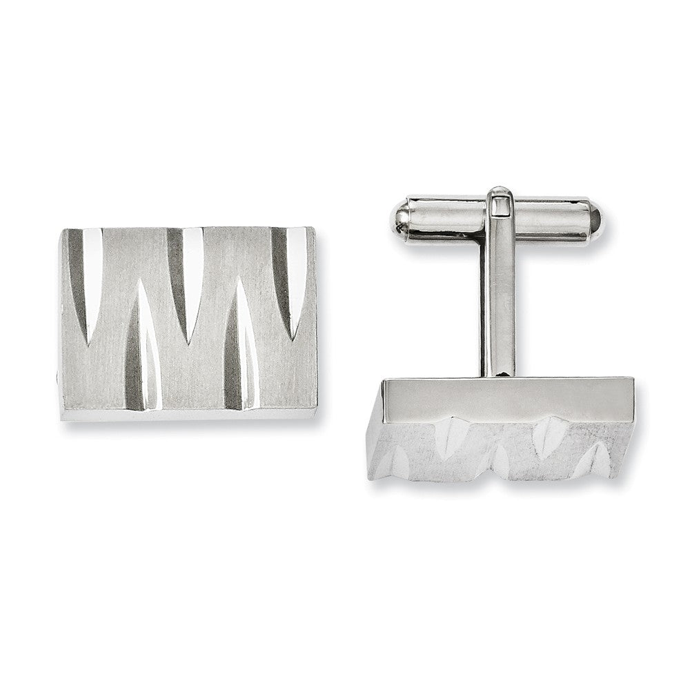 Men's Stainless Steel Notched Rectangle Cuff Links, Item M8290 by The Black Bow Jewelry Co.