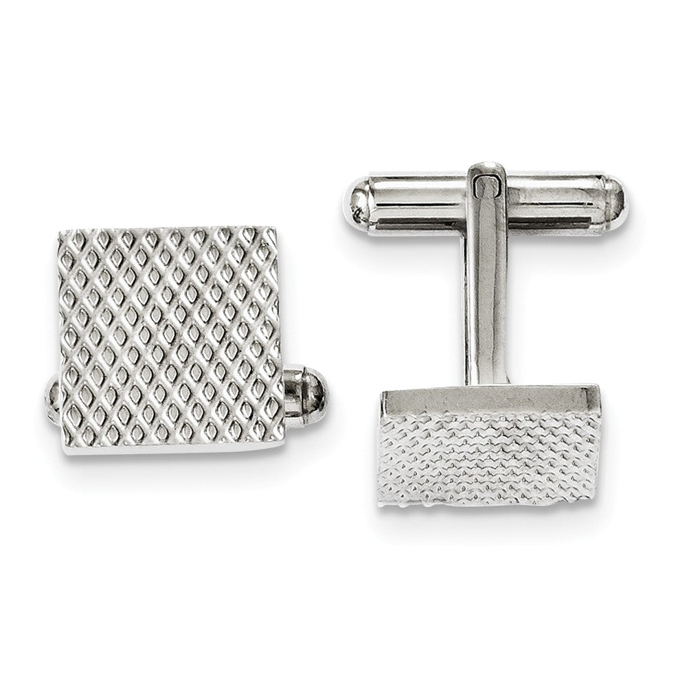 Men's Stainless Steel 13.5mm Textured Square Cuff Links, Item M8291 by The Black Bow Jewelry Co.