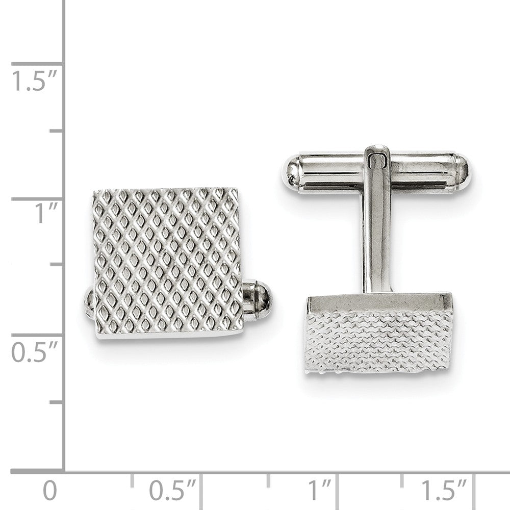 Alternate view of the Men's Stainless Steel 13.5mm Textured Square Cuff Links by The Black Bow Jewelry Co.