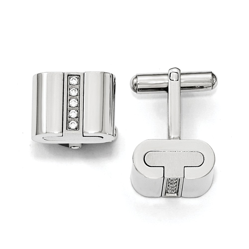 Men's Stainless Steel & CZ Polished and Brushed 16mm Square Cuff Links, Item M8299 by The Black Bow Jewelry Co.