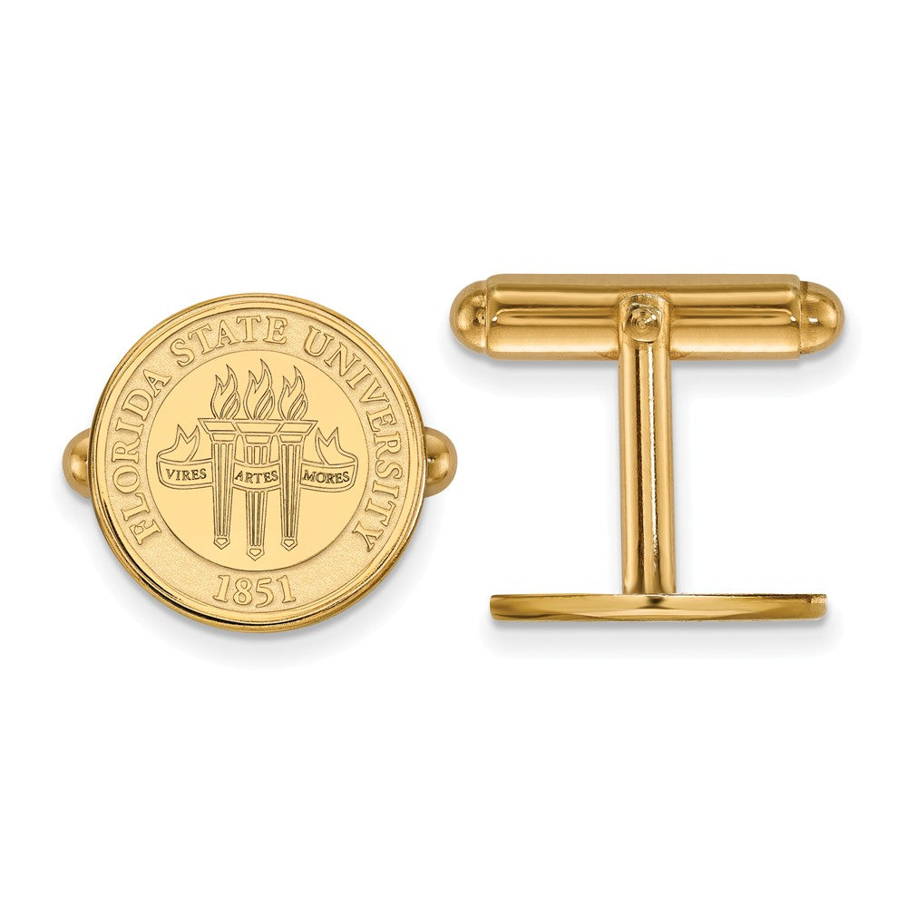 NCAA 14k Gold Plated Silver Florida State University Crest Cuff Links, Item M9186 by The Black Bow Jewelry Co.