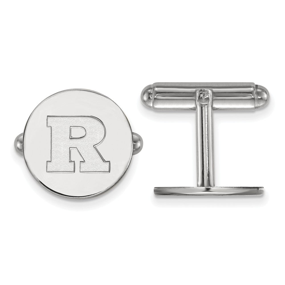 NCAA Sterling Silver Rutgers Cuff Links, Item M9195 by The Black Bow Jewelry Co.